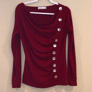 Maroon long sleeve top with button detail